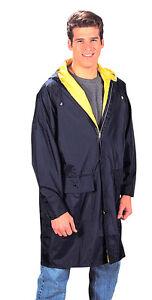 Reversible Rain Parkas - Navy/Yellow or Black/Olive Rain Coat Parkas S-3XL NEW