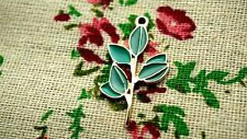 Leaf charms 2 gold and green pendant jewellery supplies