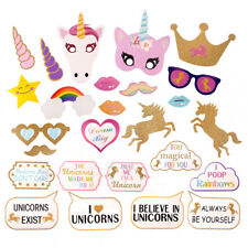 26PCS Unicorn Photo Booth Props Rainbow Girl Birthday Party Decor Mask Glitter