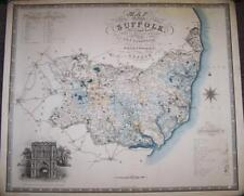 Original Large DECORATIVE 1831 MAP Of The COUNTY Of SUFFOLK By C & J GREENWOOD