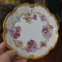 LOVELY LS & S LIMOGES FRANCE PANSY GILDED SCALLOPED DESSERT CABINET PLATE HAVE 2