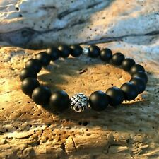 Matte Black Onyx Bold Stretch Bracelet 10 mm with .925 Sterling Silver Beads