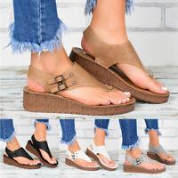 ❤️ Womens Platform Low Wedge Heel Sandals Ladies Summer Flip Flop Shoes Size 6-9