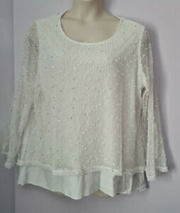 LADIES WHITE TOP WITH VEST  INSERT AND SEQUIN EMBELLISHMENT PLUS SIZE 24