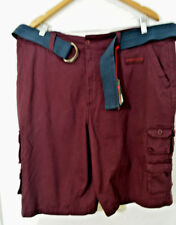 Airwalk Shorts 38 x 11 Stretch Cotton Burgundy Wine Carpenter Belt NWT $44 MC120