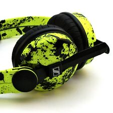 Custom Cans Neon UV Yellow + Black Splatter HD25 DJ Headphones with 2yr warranty