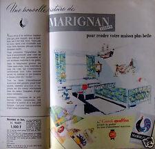 PUBLICITÉ 1958 MARIGNAN DES TISSUS D'AMEUBLEMENT - ADVERTISING