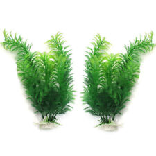 2Pcs Aquarium Green Water Plants Fish Tank ArtificialMade Silk Fabrics Plastic
