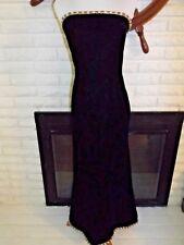 Oscar de la Renta Studio Women Dress Long Black Velvet Strapless Bombshell sz 6