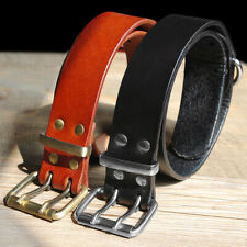 Black/Brown Real Leather Dog Collars with D-ring Heavy Duty Rottweiler Bulldog
