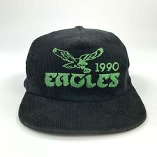 Rare Vintage 1990 Philadelphia Eagles Black Corduroy Snapback Hat Cap NFL Philly