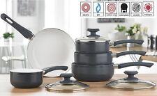 5 Piece Dark Grey Ribbed Pan Set - Aluminium coated saucepan set - Soft Handles