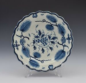 First Period Worcester Porcelain Rubber Tree Plant Dessert Plate c.1775 Antique