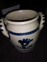 Williamsburg Restoration Pottery Stoneware Crock with Cobalt Blue Salt Glaze