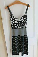 Marc Cain Monochrome Dress Black White Stripe Ladies N1 Size UK 8 RRP £249