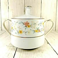 Noritake DELEVAN Sugar Bowl w/lid 3 In Contemporary 2580 Floral On White