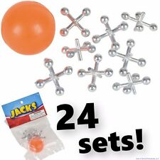 12 SETS OF METAL STEEL JACKS WITH SUPER RED RUBBER BALL GAME CLASSIC TOY KIDS