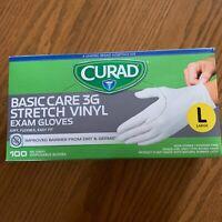 Curad Anti-Virus Basic Care 3G Vinyl Exam 100 Multi-Purpose Gloves, Large