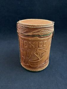 Vintage Mexico Tooled Leather Dice Cup with Poker Dice