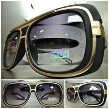 CLASSIC VINTAGE 70's RETRO Old School Style SUN GLASSES Matte Black & Gold Frame