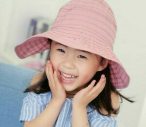 Summer Hat Outdoor Sun Hats For Children Cotton Floppy Head Outfit Solid Pattern