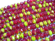 25 Ruby Red and Chartreuse Czech Glass Rondelle Beads 8x6mm