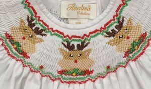 Rosalina 18 months Smocked White Reindeer ChristmasHoliday Girl Dress