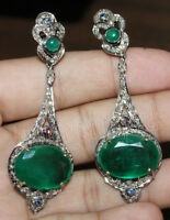 3.08ct ROSE CUT DIAMOND EMERALD 925 STERLING SILVER ANTIQUE LOOK DANGLER EARRING