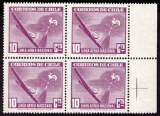 CHILE 1947 AIR MAIL STAMP # 381 MNH wmk 1 BLOCK OF FOUR AVIATION