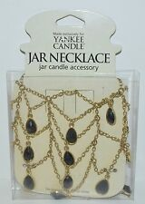 YANKEE CANDLE BLACK GOLD ONYX CANDLE JAR NECKLACE JEWELRY BEADED HOLDER TEARDROP