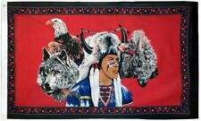 """New listing """"Indian Eagle & Wolf"""" 3x5 ft flag polyester"""