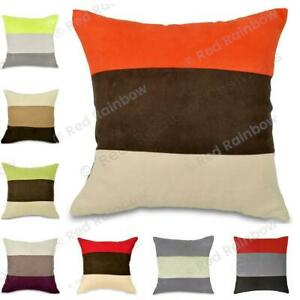 """Soft Faux Suede 18"""" Cushion Cover Stripe Design- Many Colour Options"""