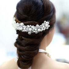 White Pearl Crystal Bride Headdress Hand Bridal Wedding Dress Accessories NICE