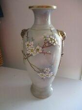 Vintage Pottery Vase Hand Painted Signed Ceramic Japanese Oriental