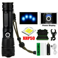 90000lm LED Flashlight XHP50 18650 USB Rechargeable LED Zoom Torch Cycling Light