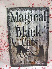 Metal Black Cat Sign Halloween Prop Decoration Haunted House Magical