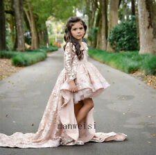 Princess Pink Flower Girls Dress Lace Bridesmaid Prom Birthday Ball Gown Train