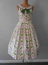 Vintage Sweet 1950's Jo Collins Novelty Print Sun Dress Pink Green Pin Up VLV