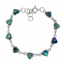 Love All Around Heart Link Abalone Shell Inlay .925 Silver Bracelet