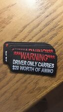 """BIKER PATCH """"WARNING DRIVER ONLY CARRIES"""" NEW NICE"""