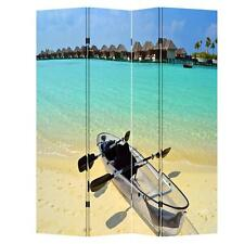4 Panels 6ft Tall Canvas Double Sided Folding Screen Room Divider- Canoe