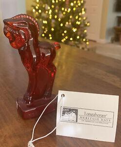 RARE Longaberger 2003 Heritage Days Heisey Glass Horse Ruby Standing Colt NIB