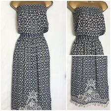 Monsoon Tala Navy Embroidered/Beaded Detail Bandeau Summer Dress S - X/L (m-43h)
