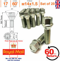 Car Alloy Wheel bolts M14x1.5 35mm extended Thread taper for BMW set of 20