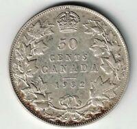 KEY DATE CANADA 1932 50 CENTS HALF DOLLAR KING GEORGE V .800 SILVER COIN