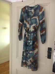 Saba Silk Patterned Shirt Dress