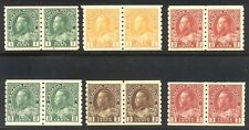 CANADA #125-30 Mint Pairs - 1912-24 K G V P 8.5 Coils