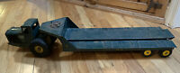 Vintage 1950's Nylint Steel Toy Tournahauler Flatbed Truck & Trailer Rare Green