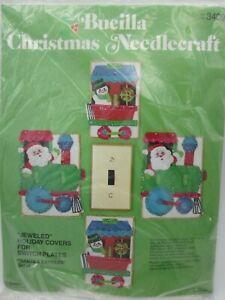 Bucilla Felt Christmas Needlecraft Kit Light Switch Cover Santa Train Vintage