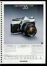 Factory 1978 Olympus Zuiko Shift 35mm F2.8 Camera Lens Dealer Data Sheet Page